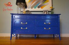 High Gloss Cobalt Blue Lacuqered Faux Bamboo Chinoiserie Thomasville Dresser
