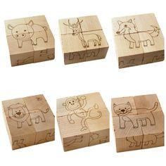wooden toy animal block puzzle by littlesaplingtoys on Etsy