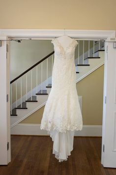 Sneak peek of the wedding dress on a January wedding day