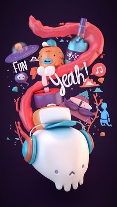 FunYeah! on Behance 3d graphic design cinema 4d c4d modeling character type typography