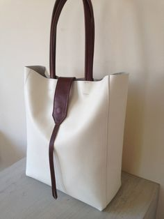 leather tote  white and brown tote by tissuhandbags on Etsy, $280.00
