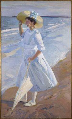 "Elena en la playa Joaquín Sorolla (1909)    ""Twin Sister"" of Paseo en la Playa."