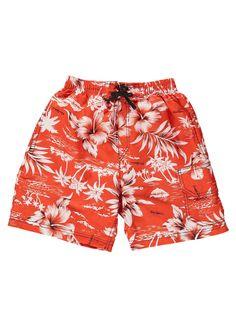 Orange Hawaiian Boarder Shorts by Mitty James Kids Beachwear