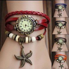 Girls Womens Retro  PU Band Starfish Quartz Bracelet Wrist Watch