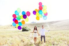 Such a cute, colorful engagement photo..thanks to the Up movie inspiration!