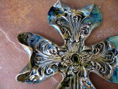 Large Rustic Blue/Green Curled Cross Carrie Wainwright (rtcpottery) Houston, TX Ceramic Clay, Ceramic Pottery, Clay Cross, Potters Clay, Rustic Cross, Pottery Handbuilding, Sign Of The Cross, Ranch Decor, Christmas Clay