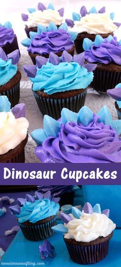 Coming up with a cupcake idea for a Dinosaur Party for Girls is a little bit tricky but we love how these Dinosaur Cupcakes turned out! Inspired by a Stegasaurus (from a very colorful Land Before Time!) these fun and easy cupcakes were a hit at our Dinosa Girl Dinosaur Birthday, Birthday Fun, Birthday Parties, Cake Birthday, Birthday Ideas, Dinasour Birthday, Cupcake Decoration, Food Decorations, Dinosaur Decorations