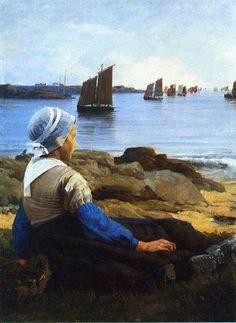 Awaiting his return, 1884 Edward Simmons - Edward Simmons (painter) – Wikipedia