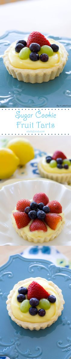 Sugar Cookie Fruit Tarts: Easy and delicious, these sugar cookie tarts are fun, fresh, and perfect for spring & summer! Plus they have an easy secret ingredient that enhances their depth of flavor! Mini Desserts, Spring Desserts, Just Desserts, Valentine Desserts, Valentine Nails, Valentine Ideas, Baking Recipes, Cookie Recipes, Dessert Recipes