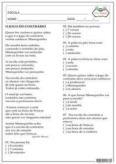 SOS PROFESSOR-ATIVIDADES: O jogo do contrário Learn Portuguese, A30, English Lessons, Sos Professor, Teaching, Education, Words, School, Literacy Activities