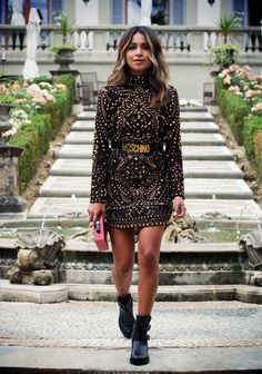 EMILIO PUCCI studded leather dress MOSCHINO 35MM leather belt BALDAN 40MM belted ankle boots LULU GUINNESS lipstick perspex clutch