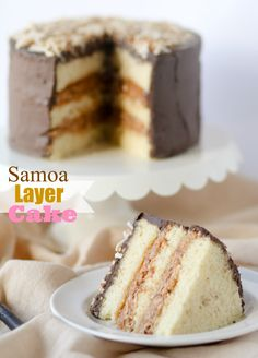 Samoa Layer Cake -- buttery yellow cake, toasted coconut and caramel filling, dark chocolate frosting. Yum!!