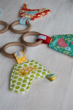 Wooden teether bird toy - organic birch, sensory ribbon taggies, for teething