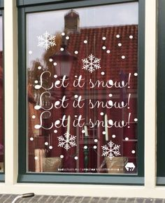 krijtstifttekening let it snow, raamtekening let it snow, raamversiering let it snow, raamdecoratie let it snow