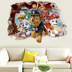 US 3D Wall Stickers Paw Patrol Kids Cartoon Room Decal Wallpaper Removable 3d Wall Decals, Kids Room Wall Decals, Removable Wall Stickers, Vinyl Wall Stickers, Window Stickers, Vinyl Art, Cumple Paw Patrol, Decoration Stickers, Wall Decorations