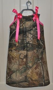 Hot pink & hunting camo pillowcase dress from Fit For A Princess. Available for purchase at http://www.ffaprincess.com/pillowcase-dresses.html.