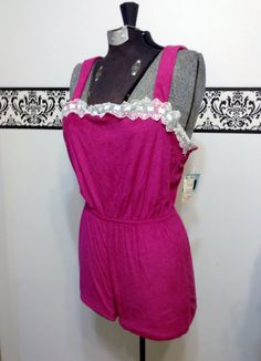 Fuchsia Pink 1970's Vintage Terry Cloth Romper by RetrosaurusRex, $18.99