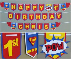 Superman Happy Birthday Banner, Superman Banner, Superman Pennant, Superman Picture Prop Banner, Superhero Banners, Superman Party Decor #babyshowerideas4u #birthdayparty #babyshowerdecorations #bridalshower #bridalshowerideas #babyshowergames #bridalshowergame #bridalshowerfavors #bridalshowercakes #babyshowerfavors #babyshowercakes