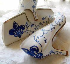 Wedding Shoes and Bag Fleur de lis Bridal set by norakaren on Etsy