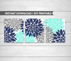 Navy Aqua and Grey Dahlia Flowers DIY Printable Wall and Bathroom Art