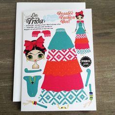 Poupée de papier articulé en rêve de peu Frida voeux carte 1, blanc à l'intérieur