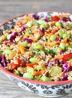 This asian quinoa salad is a bright and colorful salad that is great for any party!