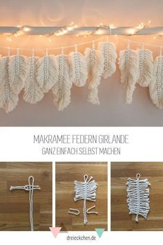 Macrame Projects, Craft Projects, Home Crafts, Diy And Crafts, Recycled Crafts, Feather Garland, Diy Garland, Ideias Diy, Macrame Design
