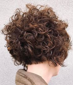 Nape-Length Brown Bob with Messy Curls
