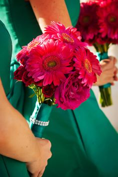 Hot Pink Bouquets of Garden and Spray rose and Gerbera Daisies by Andrea Layne Floral Design (www.andrealaynefloraldesign.com)