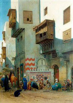 Binnenplein te Kairo (Inside Square in Cairo) By Willem de Famars Testas - Dutch 1834 - 1896 Pencil, watercolor and gouache on paper 48 x 34.5cm