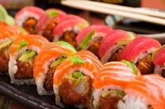 How I miss sushi. No idea what kind of roll this is, but I want to eat it all.