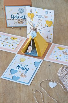 Explosion Box Tutorial, Exploding Gift Box, Crafts To Sell, Diy Crafts, Marianne Design, Card Tags, Stamping Up, Baby Cards, Creative Depot