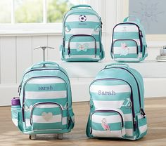 Fairfax Turquoise/White Stripe Backpacks | Pottery Barn Kids