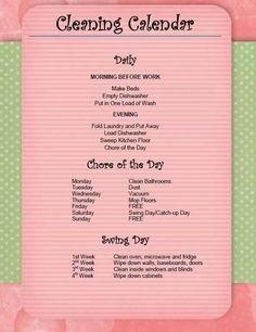 Daily Cleaning Schedule | Cleaning schedules