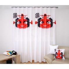 Záves do detskej izby s červeným autom Curtains, Shower, Prints, Insulated Curtains, Blinds, Rain Shower Heads, Draping, Drapes Curtains, Sheet Curtains