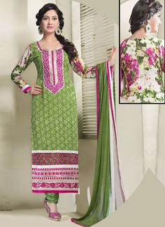 Mother's Day special green designer salwar kameez