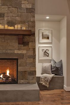 LOVE this Fireplace with the bench seat beside it....BEAUTIFUL!