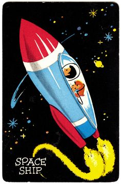 "Space-ship card, from a vintage Space-O children's card game apparently also known as ""Orbit."""