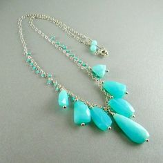 01feb3c2f Peruvian Blue Opal Necklace by SurfAndSand on Etsy, $159.00 Peruvian Opal,  Opal Necklace,