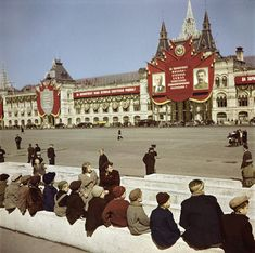 Young visitors waiting to see Lenin's Tomb at the Red Square, Moscow, U.S.S.R., 1947.