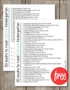 50 Books to Read Before Kindergarten. Awesome FREE checklist! Includes classic titles and new favorites.