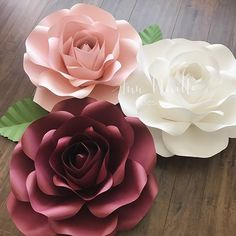 Medium large Rose #templates #paperflowers #paperflower #roses #handmade