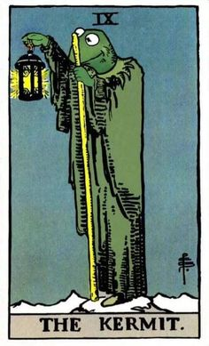 petitpoulailler: quicksilver-ink: Redrawing of 'The Hermit' tarot card as … 'The Kermit'] Photo Wall Collage, Collage Art, Tarot Card Predictions, Sapo Meme, Arte Peculiar, Arte Indie, Kermit The Frog, Hippie Art, Aesthetic Art