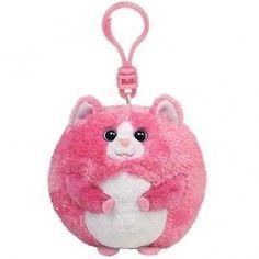 Beanie Ballz Cat pink KeyRing Clip. Best Price