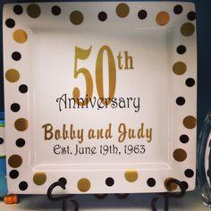Personalized Wedding Anniversary Plate 50th Anniversary Plaque. $32.00, via Etsy.