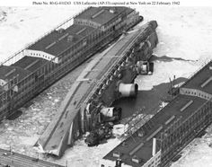 SS Normandie - Maiden voyage on 29.05.1935 and on 09.02.1942 capsized after a fire. Its Art Deco interiors were legendary.
