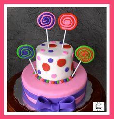 LOLLIPOPS FONDANT CAKE (Pastel de cumpleaños decorado con paletas de fondant)