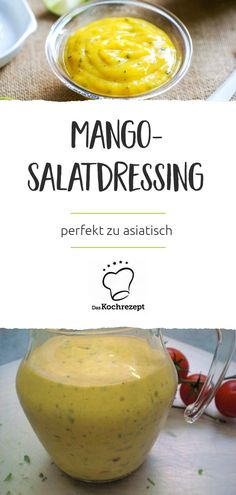Mango-Salatdressing Mango salad dressing – sounds exotic, it is too! Fruity mango and spicy salad dressing are a perfect team and give your salad an extraordinary kick. Mango Dressing, Happiness Recipe, Cookie Salad, Mango Salat, Detox Salad, Salad Dressing Recipes, Homemade Soup, Mets, Vinaigrette