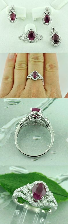 Diamonds and Gemstones 164326: 18K Solid White Gold Natural Ruby Diamond Earring , Ring, Pendant Set 7.70 Ct -> BUY IT NOW ONLY: $2695 on eBay!