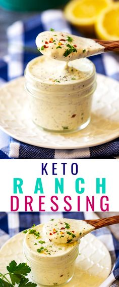 "Looking for a Keto Friendly Ranch Dressing that is just as good as the ""real thing""? The whole family is going to fall in love with this Homemade Keto Ranch Dresisng. It is so easy to make and is the perfect way to elevate your salad! It also works great as a chicken marinade! Sugar Free Recipes, Low Carb Recipes, Healthy Salad Recipes, Vegetarian Recipes, Low Carb Ranch Dressing, Keto Salad Dressing, Keto Sauces, Low Carb Sauces, Low Carb Appetizers"
